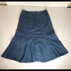 Avenue Long Denim Patchwork Skirt